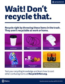 ¡Alto! Estos no van en el contenedor de reciclaje – folleto en inglés