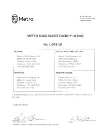 Grimm's Fuel Company Inc - Solid waste Facility License L-043-19