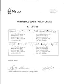 Grimm's Solid Waste Facility License L-043-18