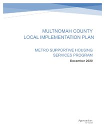 Multnomah County local implementation plan - supportive housing services