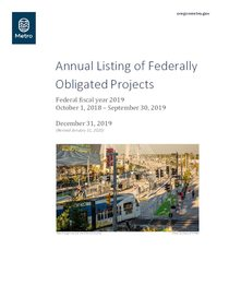 Annual Listing of Federally Obligated Projects, FFY 2019
