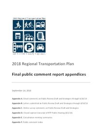 Public comment report appendices, September 2018