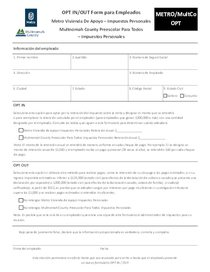 Metro and Multnomah County tax OPT form - Spanish