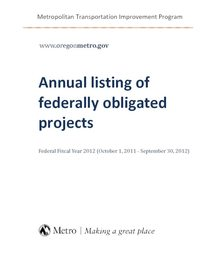2012 listing of federally obligated projects