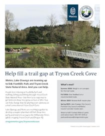 Tryon Creek Cove trail connection fact sheet
