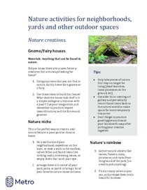 Nature activities for neighborhoods - shelter