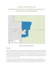 Advance Road (Frog Pond) residential impact analysis