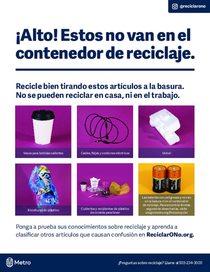 ¡Alto! Estos no van en el contenedor de reciclaje – folleto en español