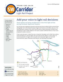 Southwest Corridor Light Rail Project Newsletter, Summer 2018