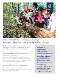 Flyer for 2020 sponsorships for community-led activities