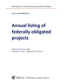 Annual Listing of Federally Obligated Projects, 2014