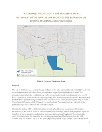 Witch Hazel Village South residential impact analysis