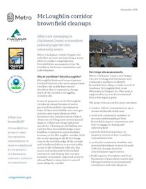Fact sheet: McLoughlin corridor brownfield cleanups
