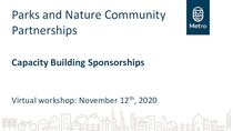 Capacity building sponsorships workshop presentation