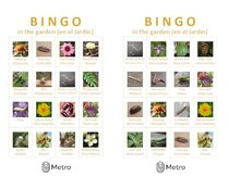 Garden bingo cards K and L