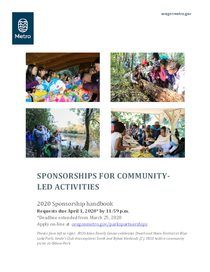 2020 Parks and Nature sponsorships for community-led activities handbook