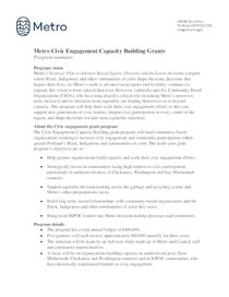 Program summary for civic engagement grants