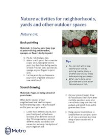Nature activities for neighborhoods - art