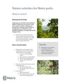 Nature activities for Metro parks - observe