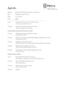 Meeting agenda April 14, 2021