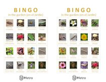 Garden bingo cards Q and R