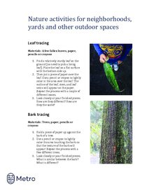 Nature activities for neighborhoods - tracing