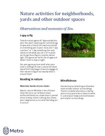Nature activities for neighborhoods - zen