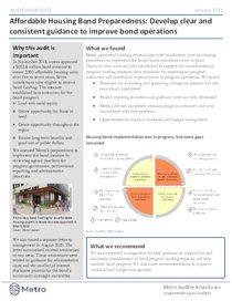 Affordable Housing Bond Preparedness highlights