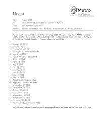 2018 Metro Policy Advisory Committee meeting dates