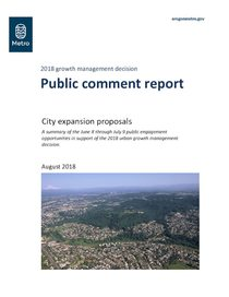 2018 growth management decision public comment report, August 2018