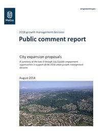 2018 growth management decision public comment report, August 2018
