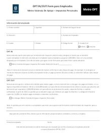 Metro tax OPT form - Spanish