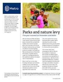 Parks and natural areas levy renewal fact sheet