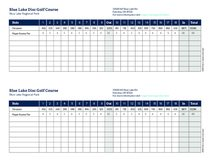 Disc golf course 2-player scorecard