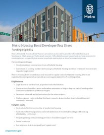 Metro affordable housing bond developer fact sheet