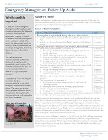 Emergency Management Follow-up audit highlights