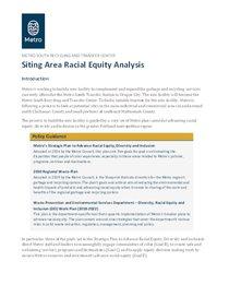 Metro South siting area racial equity analysis
