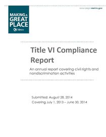 Metro's Title VI Compliance Report for fiscal year ending June 30, 2014