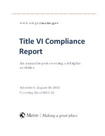 Metro's Title VI Compliance Report for fiscal year ending June 30, 2012