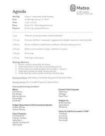 Grimm's community leader meeting agenda