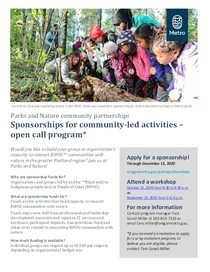 Flyer for open call capacity building sponsorships
