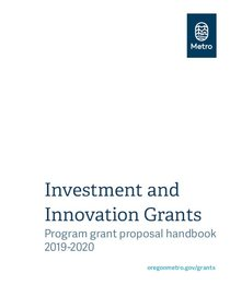 Investment and Innovation Program Grants Proposal Handbook 2019-20