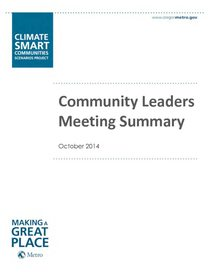Climate Smart community leaders meeting: October 1
