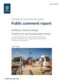 Regional Transportation Plan: Public comment report and appendices, April 2018
