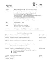 Metro Central Community Enhancement Committee meeting agenda