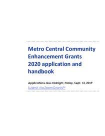 2020 Metro Central Applicant & Grantee Handbook v3