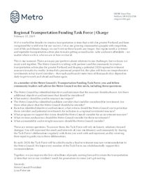 Transportation Funding Task Force Charge