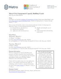Information session flyer for civic engagement grants