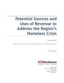 ECONorthwest report on potential sources and uses of revenue to address the region's homeless crisis
