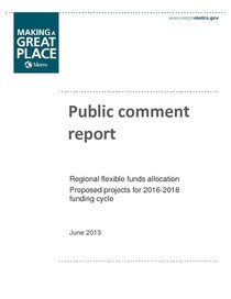 Regional flexible fund public comment report